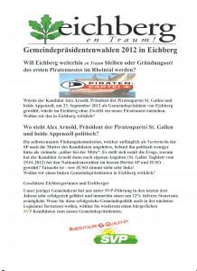 Flugblatt der SVP vom 16.08.2012